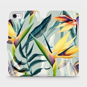 Flipové pouzdro Mobiwear na mobil Apple iPhone SE 2020 - MC02S Žluté velké květy a zelené listy
