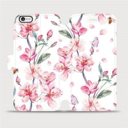 Flipové pouzdro Mobiwear na mobil Apple iPhone 6 / iPhone 6s - M124S Růžové květy