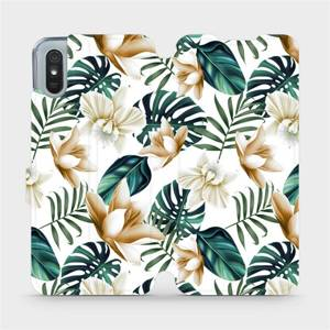 Flipové pouzdro Mobiwear na mobil Xiaomi Redmi 9A - MC07P Zlatavé květy a zelené listy