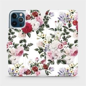 Flipové pouzdro Mobiwear na mobil Apple iPhone 12 Pro Max - MD01S Růže na bílé