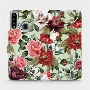 Flipové pouzdro Mobiwear na mobil Samsung Galaxy A20S - MD06P Růže a květy na světle zeleném pozadí