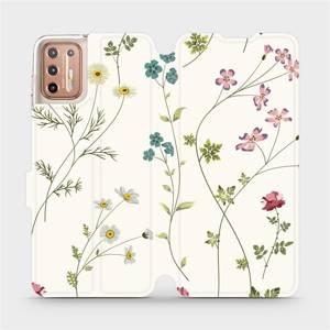 Flipové pouzdro Mobiwear na mobil Motorola Moto G9 Plus - MD03S Tenké rostlinky s květy