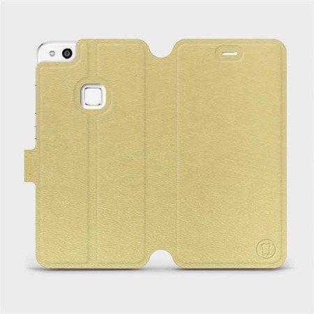 Parádní flip pouzdro Mobiwear na mobil Huawei P10 Lite v provedení C_GOS Gold&Gray s šedým vnitřkem