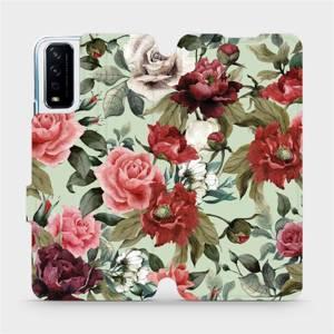 Flipové pouzdro Mobiwear na mobil Vivo Y11S - MD06P Růže a květy na světle zeleném pozadí