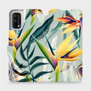 Flipové pouzdro Mobiwear na mobil Realme 7 5G - MC02S Žluté velké květy a zelené listy