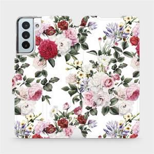 Flipové pouzdro Mobiwear na mobil Samsung Galaxy S21 Plus 5G - MD01S Růže na bílé