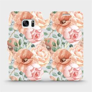Flip pouzdro Mobiwear na mobil Samsung Galaxy S7 - MP02S Pastelové květy
