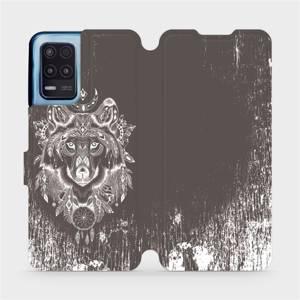 Flip pouzdro Mobiwear na mobil Realme 8 5G - V064P Vlk a lapač snů