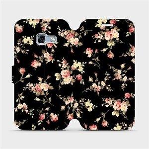 Flipové pouzdro Mobiwear na mobil Samsung Galaxy A3 2017 - VD02S Květy na černé