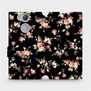 Flipové pouzdro Mobiwear na mobil Sony Xperia XA2 - VD02S Květy na černé