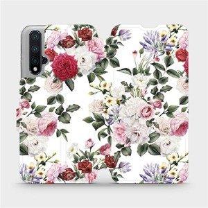 Flipové pouzdro Mobiwear na mobil Honor 20 - MD01S Růže na bílé