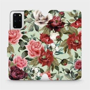 Flipové pouzdro Mobiwear na mobil Samsung Galaxy S20 Plus - MD06P Růže a květy na světle zeleném pozadí