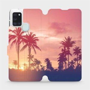 Flipové pouzdro Mobiwear na mobil Samsung Galaxy A21S - M134P Palmy a růžová obloha