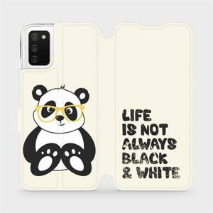 Flipové pouzdro Mobiwear na mobil Samsung Galaxy A02s - M041S Panda - life is not always black and white