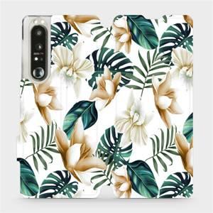 Flip pouzdro Mobiwear na mobil Sony Xperia 1 III - MC07P Zlatavé květy a zelené listy