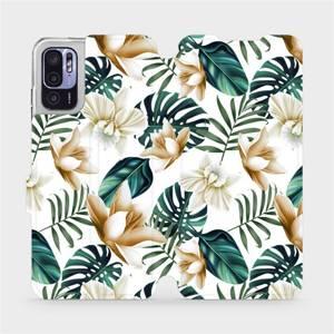 Flip pouzdro Mobiwear na mobil Xiaomi Redmi Note 10 5G - MC07P Zlatavé květy a zelené listy