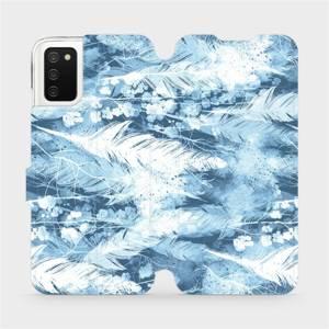 Flip pouzdro Mobiwear na mobil Samsung Galaxy A03s - M058S Světle modrá horizontální pírka