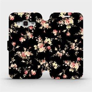 Flipové pouzdro Mobiwear na mobil Samsung Galaxy J3 2016 - VD02S Květy na černé
