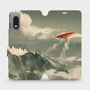 Flipové pouzdro Mobiwear na mobil Samsung Xcover PRO - MA03P Oranžové letadlo v horách