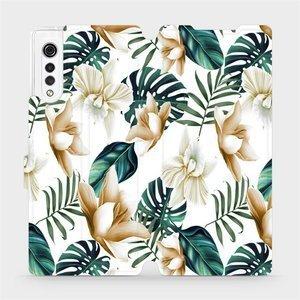 Flipové pouzdro Mobiwear na mobil LG Velvet - MC07P Zlatavé květy a zelené listy