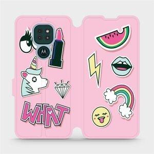 Flipové pouzdro Mobiwear na mobil Motorola Moto G9 Play - M129S Růžové WHAT