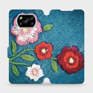 Flipové pouzdro Mobiwear na mobil Xiaomi POCO X3 NFC - MD05P Džínové květy