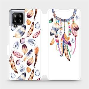 Flipové pouzdro Mobiwear na mobil Samsung Galaxy A42 5G - M003S Lapač a barevná pírka