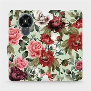 Flipové pouzdro Mobiwear na mobil Nokia 3.4 - MD06P Růže a květy na světle zeleném pozadí