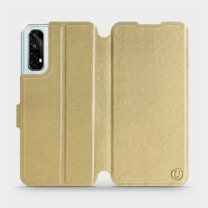 Flipové pouzdro Mobiwear na mobil Realme 7 v provedení C_GOS Gold&Gray s šedým vnitřkem