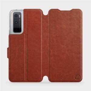 Flipové pouzdro Mobiwear na mobil Vivo Y70 v provedení C_BRP Brown&Orange s oranžovým vnitřkem