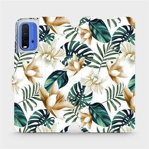 Flipové pouzdro Mobiwear na mobil Xiaomi Redmi 9T - MC07P Zlatavé květy a zelené listy