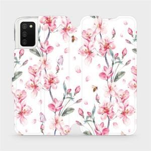 Flipové pouzdro Mobiwear na mobil Samsung Galaxy A02s - M124S Růžové květy