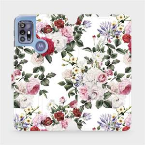 Flipové pouzdro Mobiwear na mobil Motorola Moto G30 - MD01S Růže na bílé