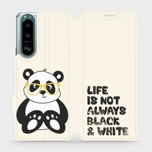 Flip pouzdro Mobiwear na mobil Sony Xperia 5 III - M041S Panda - life is not always black and white
