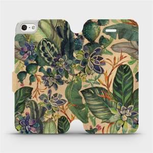 Flip pouzdro Mobiwear na mobil Apple iPhone SE / iPhone 5 / iPhone 5S - VP05S Sukulenty