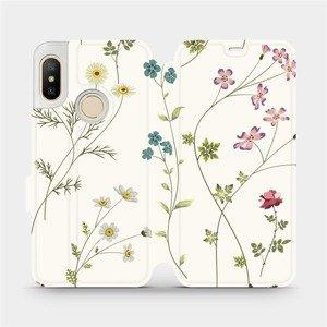 Flipové pouzdro Mobiwear na mobil Xiaomi Mi A2 Lite - MD03S Tenké rostlinky s květy