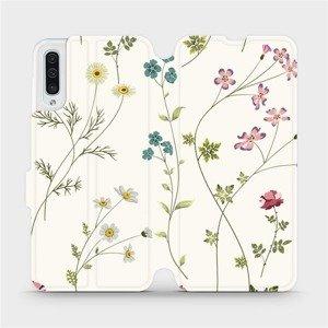 Flipové pouzdro Mobiwear na mobil Samsung Galaxy A50 - MD03S Tenké rostlinky s květy