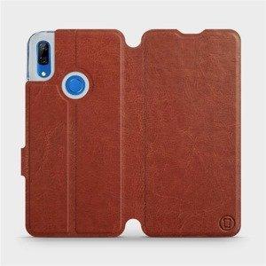 Flipové pouzdro Mobiwear na mobil Huawei P Smart Z v provedení C_BRP Brown&Orange s oranžovým vnitřkem