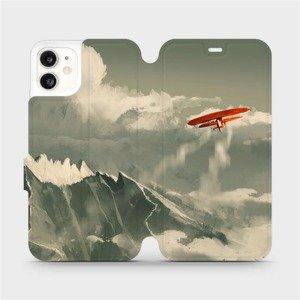 Flipové pouzdro Mobiwear na mobil Apple iPhone 11 - MA03P Oranžové letadlo v horách