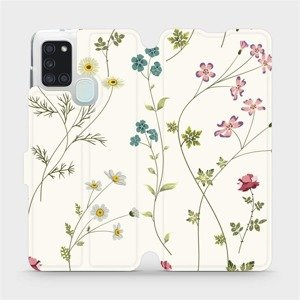 Flipové pouzdro Mobiwear na mobil Samsung Galaxy A21S - MD03S Tenké rostlinky s květy