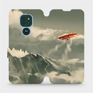 Flipové pouzdro Mobiwear na mobil Motorola Moto G9 Play - MA03P Oranžové letadlo v horách