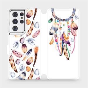 Flipové pouzdro Mobiwear na mobil Samsung Galaxy S21 Ultra 5G - M003S Lapač a barevná pírka