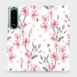 Flip pouzdro Mobiwear na mobil Sony Xperia 5 III - M124S Růžové květy