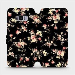 Flipové pouzdro Mobiwear na mobil Samsung Galaxy S8 - VD02S Květy na černé