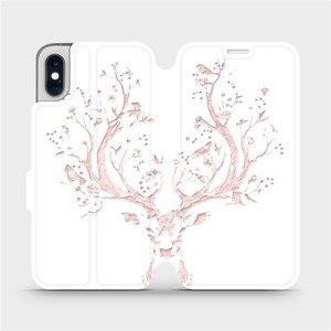 Flipové pouzdro Mobiwear na mobil Apple iPhone XS - M007S Růžový jelínek