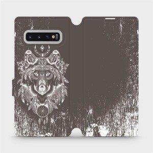 Flipové pouzdro Mobiwear na mobil Samsung Galaxy S10 Plus - V064P Vlk a lapač snů