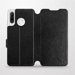 Flipové pouzdro Mobiwear na mobil Huawei P30 Lite v provedení C_BLS Black&Gray s šedým vnitřkem