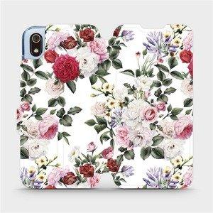 Flipové pouzdro Mobiwear na mobil Xiaomi Redmi 7A - MD01S Růže na bílé