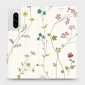 Flipové pouzdro Mobiwear na mobil Sony Xperia 5 - MD03S Tenké rostlinky s květy