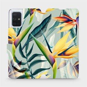 Flipové pouzdro Mobiwear na mobil Samsung Galaxy A71 - MC02S Žluté velké květy a zelené listy
